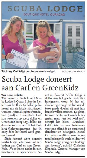 Scuba Lodge doneert aan CARF en GreenKidz